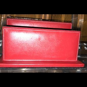 New Red with White Stitching Letter Holder
